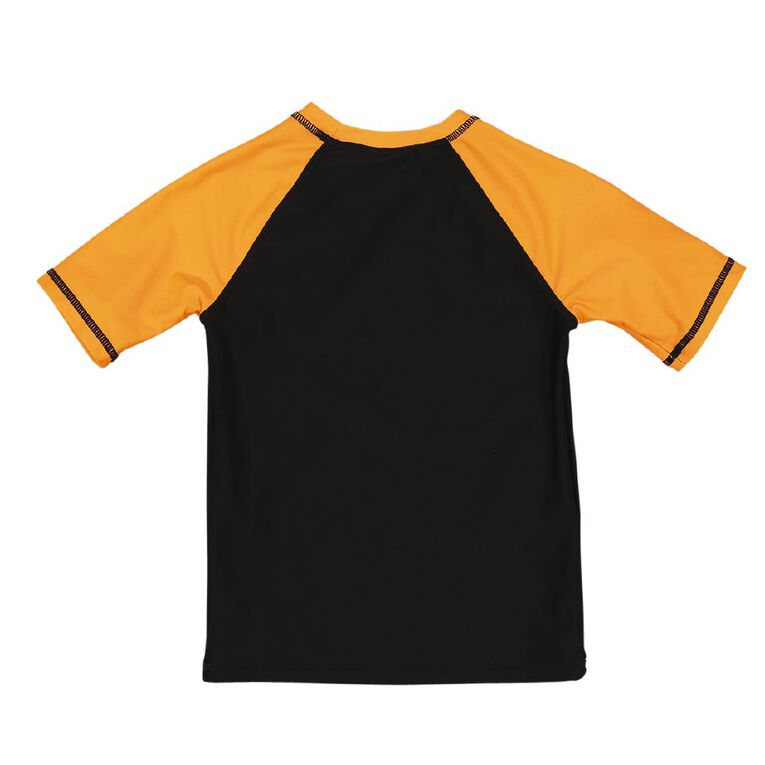 Young Original Short Sleeve Print Rash Top, Black, hi-res