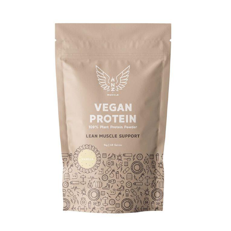 NZ Muscle Vegan Protein Vanilla 1Kg, , hi-res
