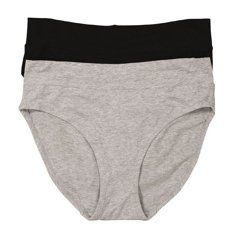 Underworks Women's Hi-Cut Briefs 2 Pack, Black/Grey, hi-res