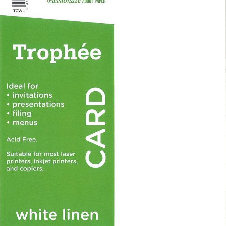 Trophee Card 160gsm 15 Pack Linen White A4, , hi-res