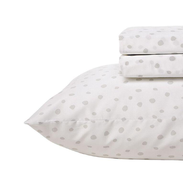 Living & Co Kids Sheet Set Cotton Rich Spots White Single, White, hi-res