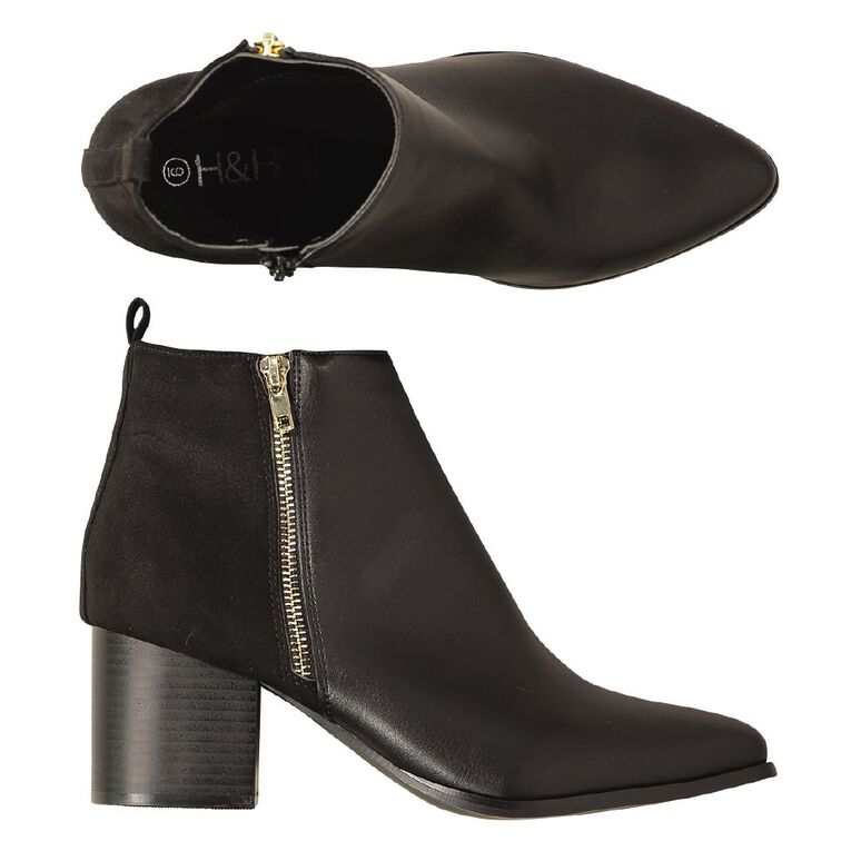 H&H Two Zips Ankle Boots, Black, hi-res image number null