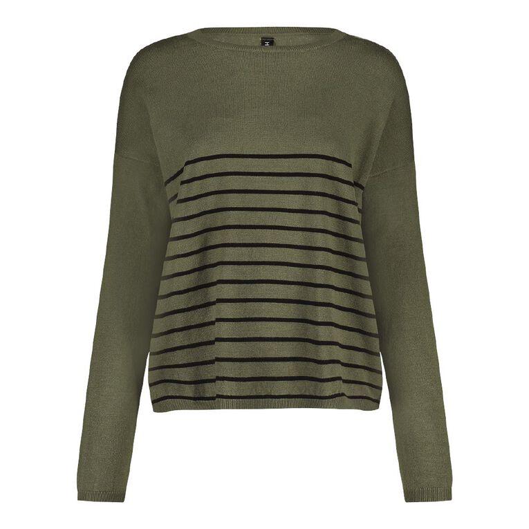 H&H Women's Long Sleeve Drop Shoulder Core Jumper, Green Dark, hi-res