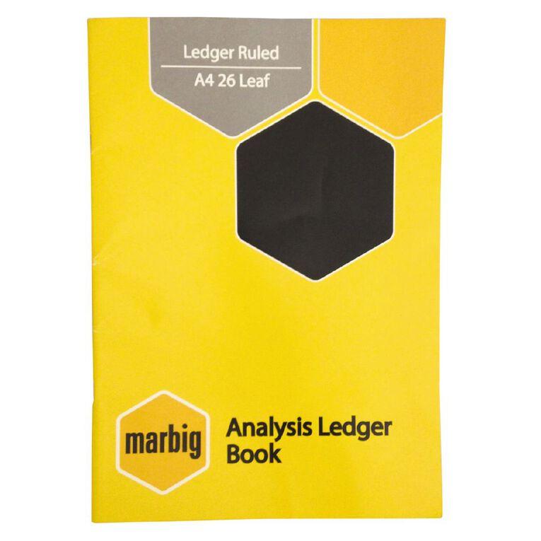 Marbig Ledger Book 26 Leaf Yellow A4, , hi-res