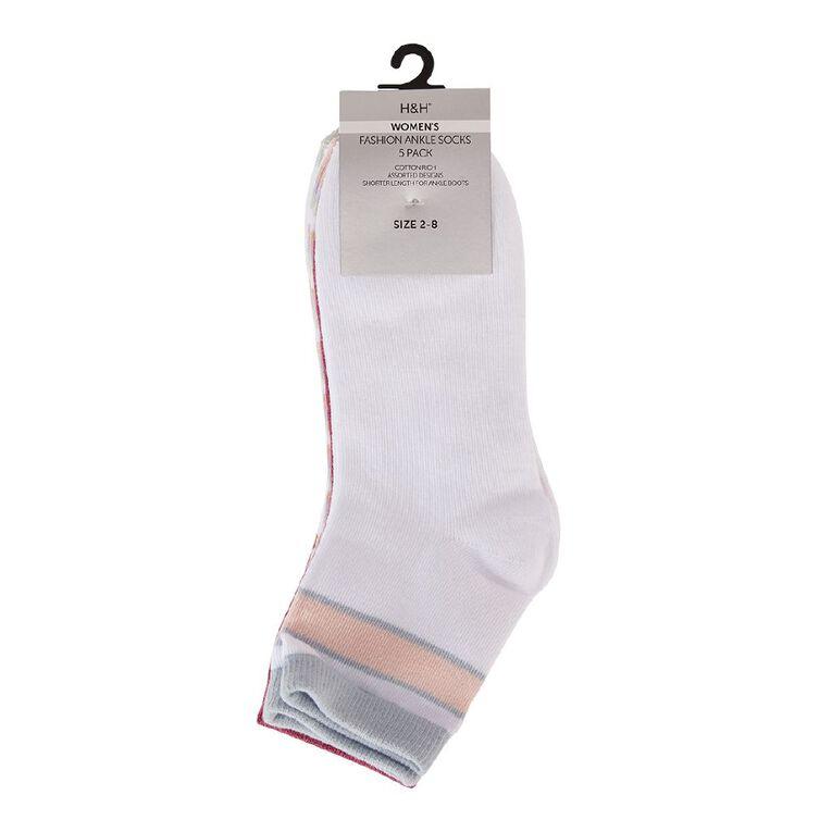 H&H Women's Patterned Ankle Crew Socks 5 Pack, White, hi-res