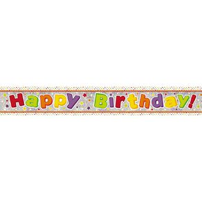 Amscan Happy Birthday Banner Holographic Bright 2.7m