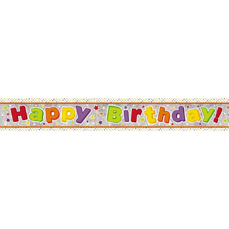 Amscan Happy Birthday Banner Holographic Bright 2.7m, , hi-res