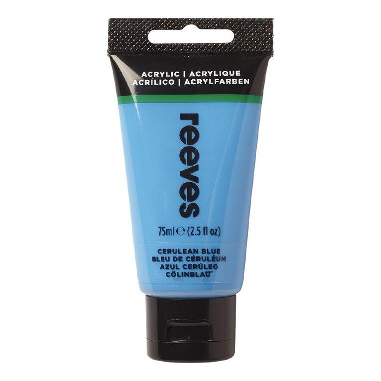 Reeves Fine Acrylic 75ml Cerulean Blue Hue 360 75ml, , hi-res