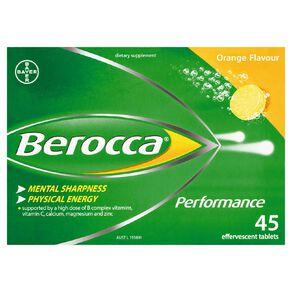 Berocca Performance Effervescent Tablets Orange 45s