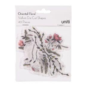 Uniti Oriental Floral Vellum Die Cut Shapes 40 Pieces