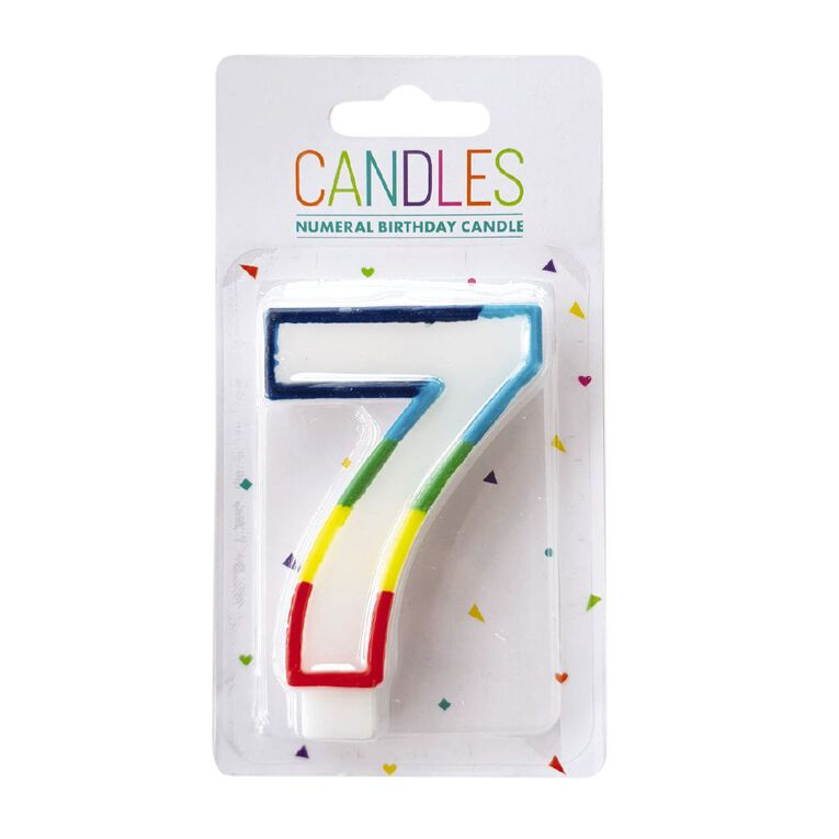 Numeral Candle 7 Rainbow Border 80mm x 10mm White, , hi-res