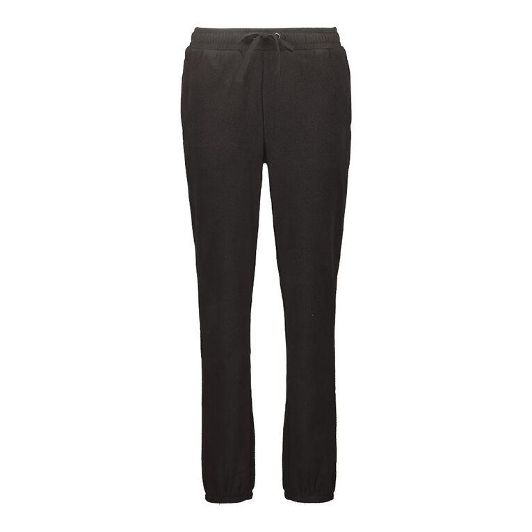 H&H Women's Microfleece Trackpants, Black, hi-res