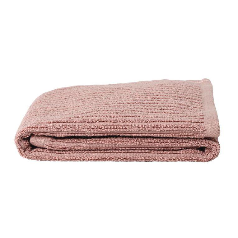 Living & Co Hand Towel Organic Ribbed Pink 40cm x 65cm, , hi-res