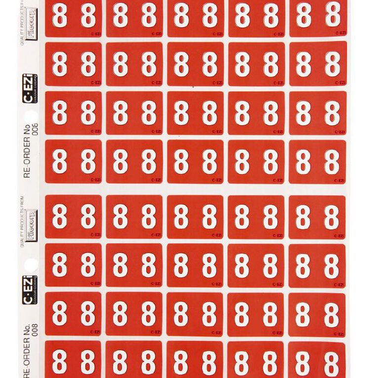 Filecorp Coloured Labels 8 Red, , hi-res