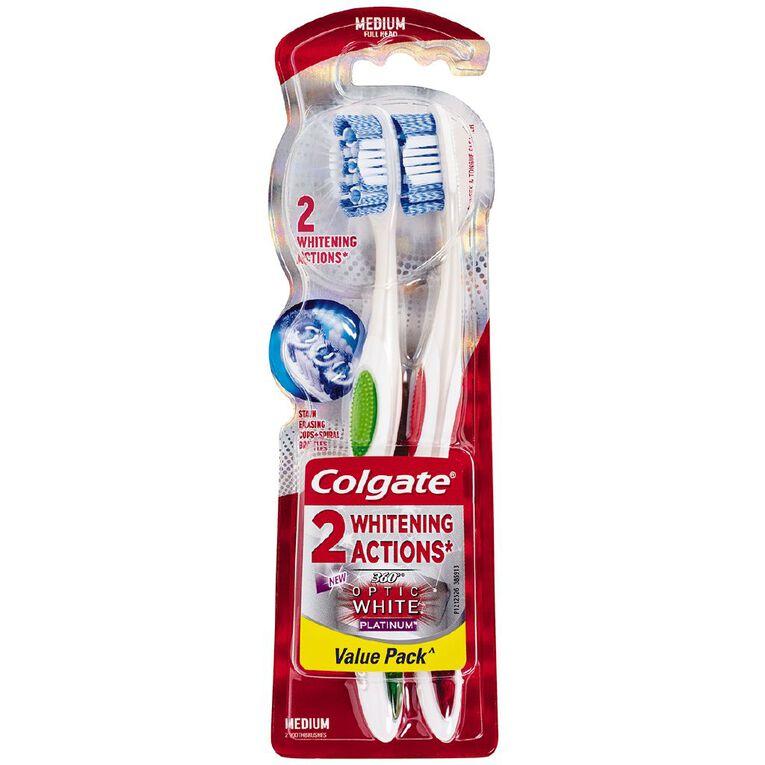 Colgate Optic White Toothbrush Platinum Medium Assorted 2 Pack, , hi-res