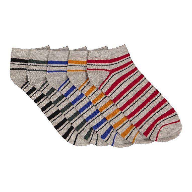 H&H Men's Patterned Liner Socks 5 Pack, Grey Marle, hi-res