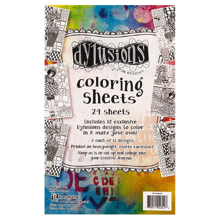 Ranger Dylusions Colouring Sheets 5 x 8 Inches Collection 1, , hi-res