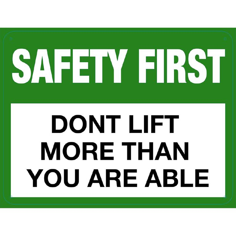 WS Safety First Don't Lift More Large 450mm x 600mm, , hi-res