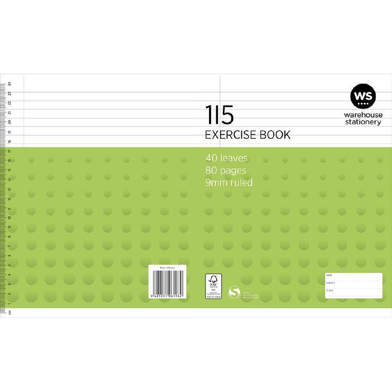 WS Exercise Book 1I5 9mm Ruled 40 Leaf Green, , hi-res