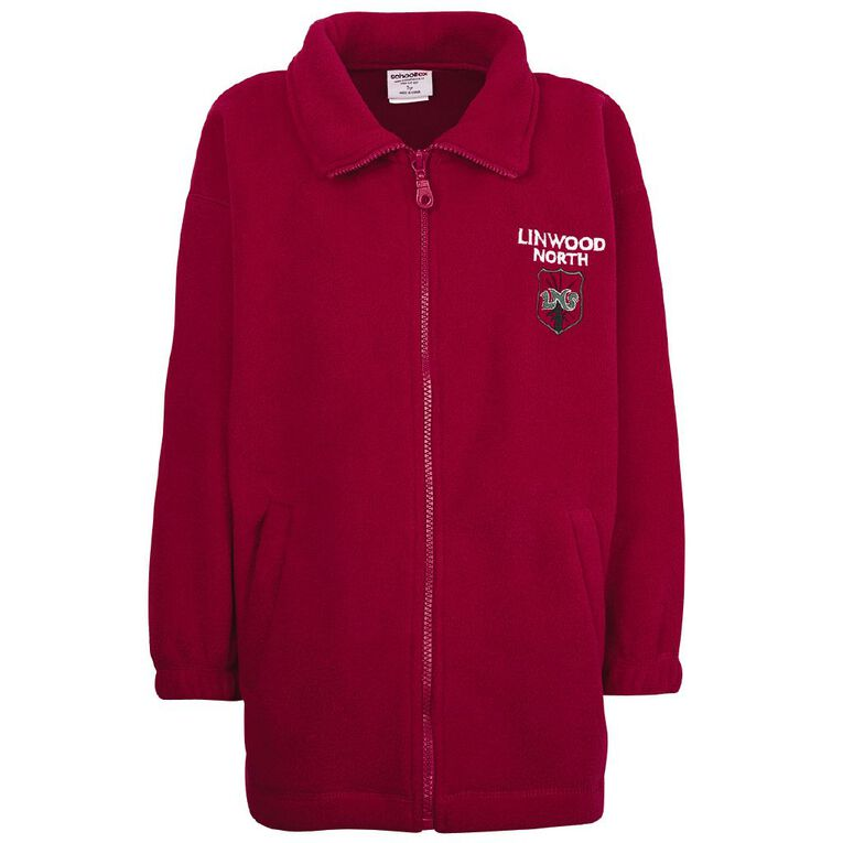 Schooltex Linwood North Polar Fleece Jacket with Embroidery, Red, hi-res