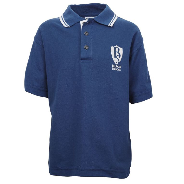 Schooltex Belfast School Short Sleeve Polo with Embroidery, Royal/White, hi-res
