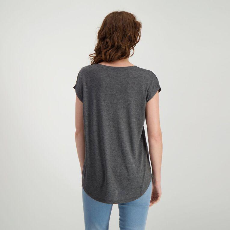 H&H Women's Print Crew Neck Tee, Charcoal/Marle, hi-res