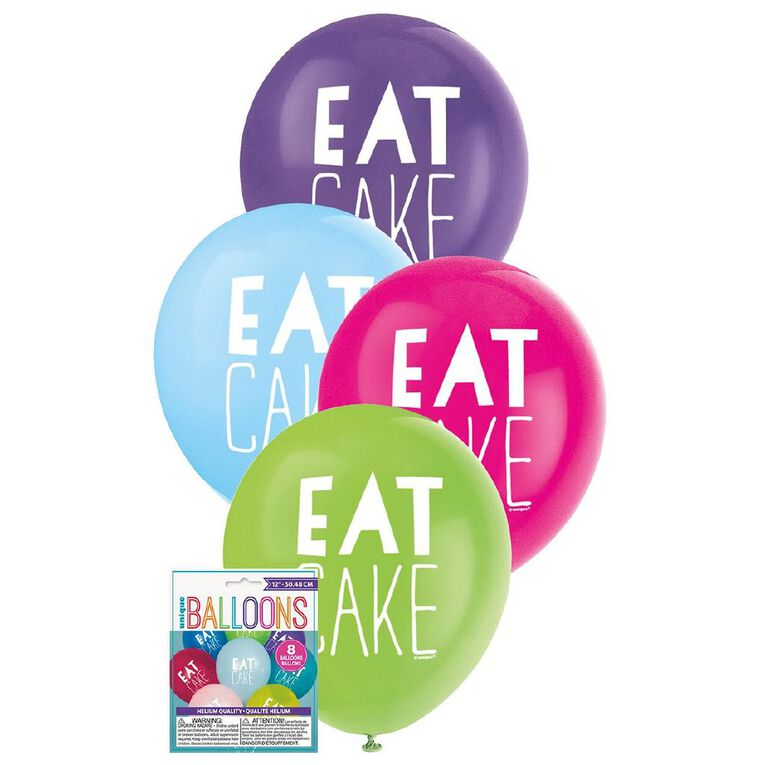 Unique Eat Cake Balloons 30cm Assorted 8 Pack, , hi-res