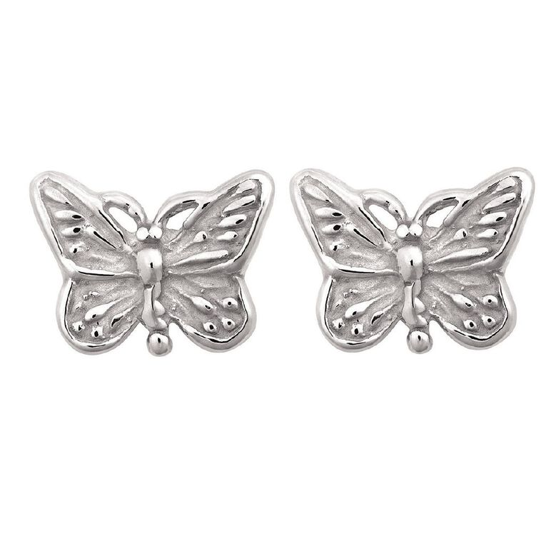 Sterling Silver Mini Butterfly Stud Earrings, , hi-res