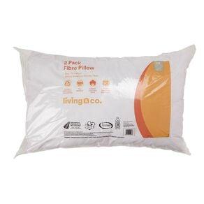 Living & Co Pillow Standard Fibre 2 Pack White