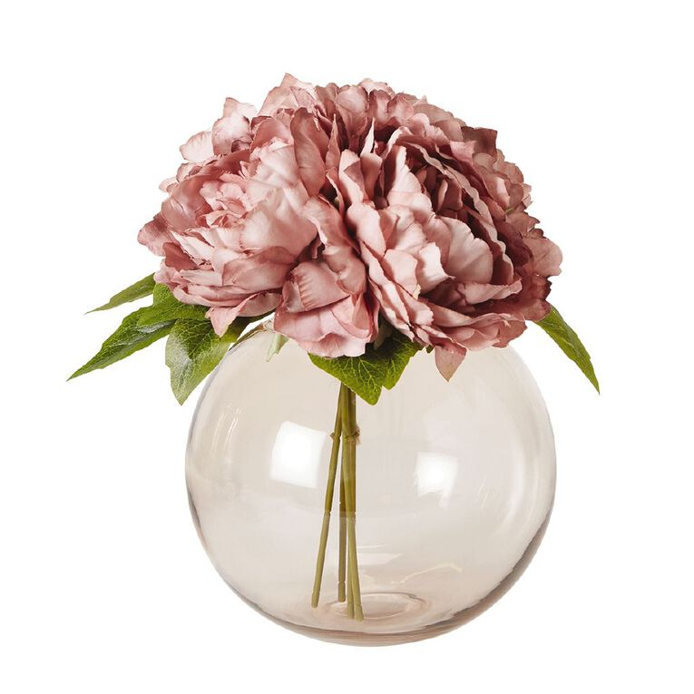 Living & Co Artificial Peony Bunch Pink 29cm, , hi-res image number null