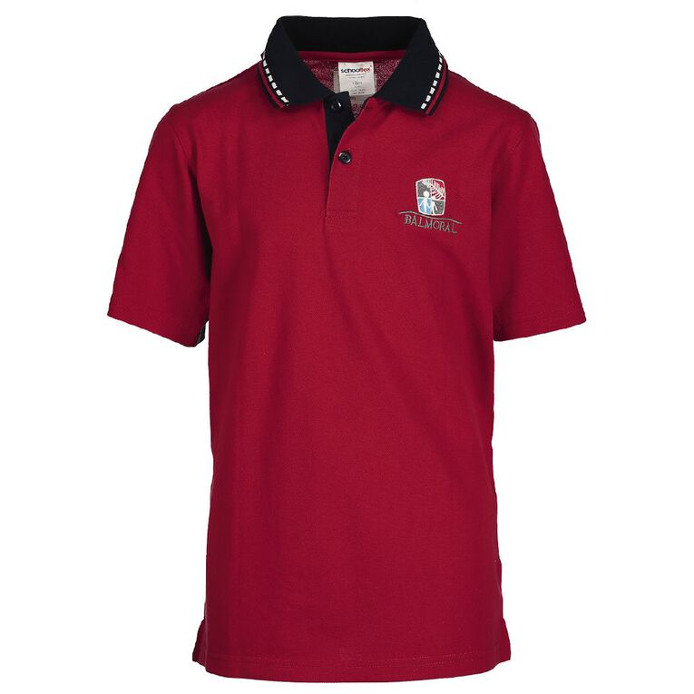 Schooltex Balmoral Intermediate Short Sleeve Polo with Embroidery, Red/Navy, hi-res