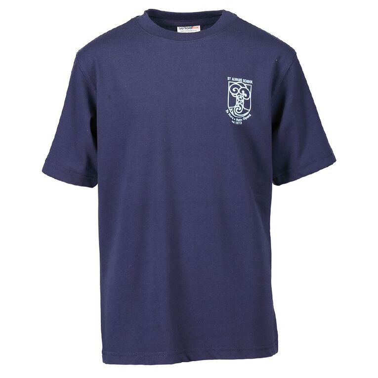 Schooltex St Alban's Tee with Transfer, Navy, hi-res