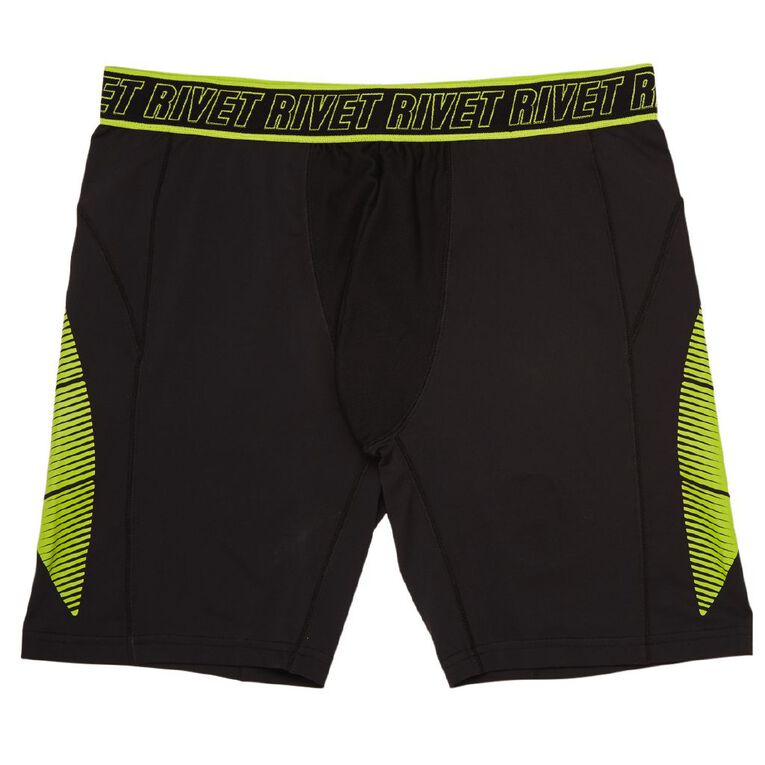 Rivet Men's Coolmax Trunks, Black blk/citrs, hi-res image number null