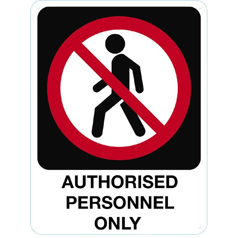 WS Authorised Personnel Only Sign Large 600mm x 450mm, , hi-res