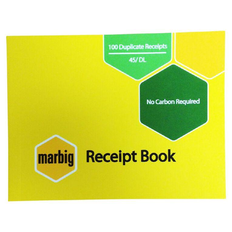 Marbig Receipt Book 45 Duplicate 100 Leaf Yellow, , hi-res