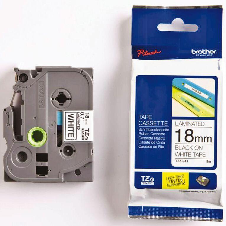 Brother Label Tape Tze-241 18mm Black On, , hi-res