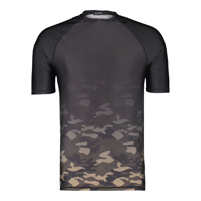 H&H Men's Printed Rash Vest, Black, hi-res