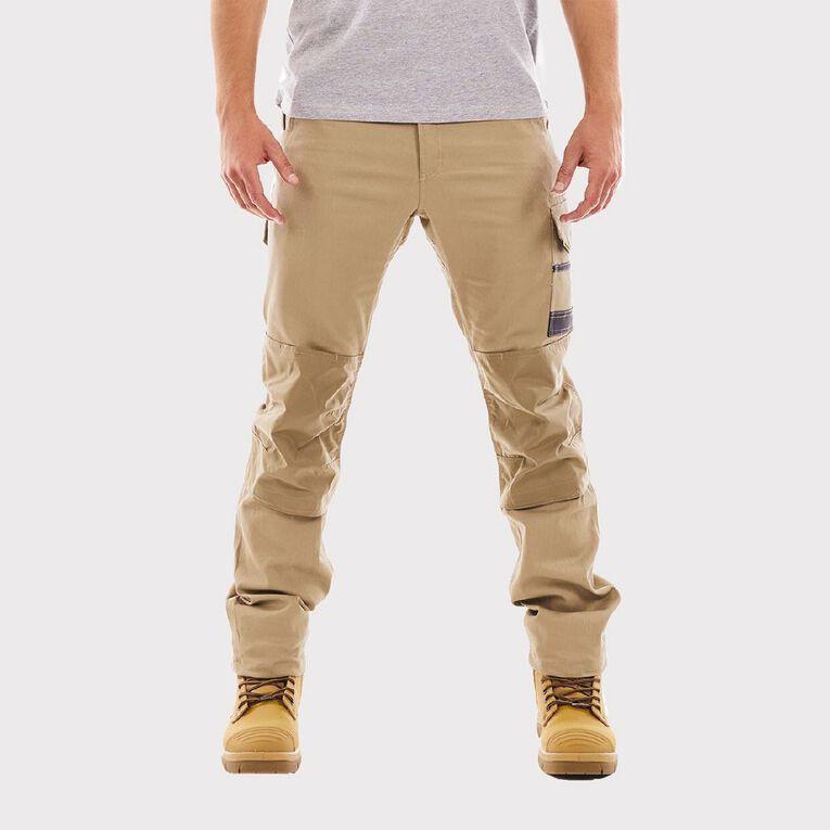 Tradie Men's Slim Fit Flex Cargo Pants, Khaki, hi-res image number null