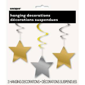 Unique Hanging Star Swirls Gold/Silver 3 Pack