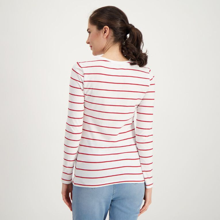 H&H Long Sleeve Scoop Neck Top, Red/White, hi-res