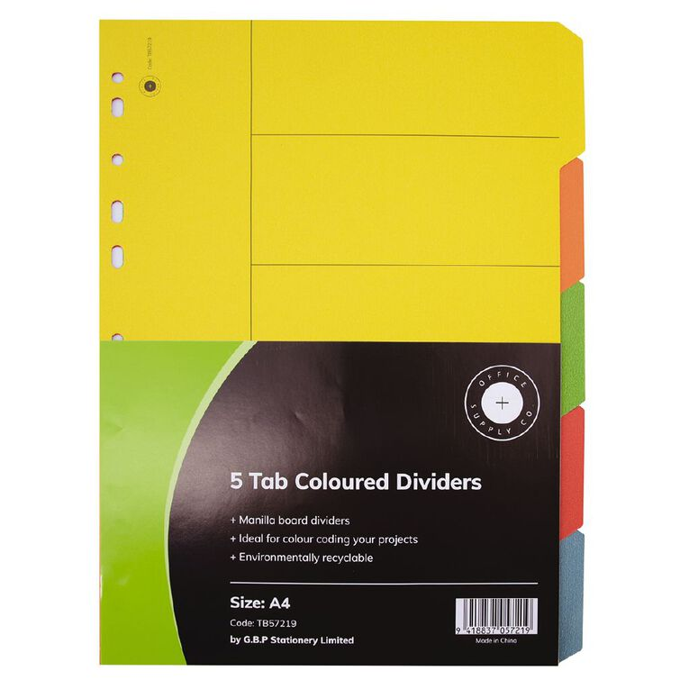 Office Supply Co 5 Tab Coloured Manilla Dividers, , hi-res