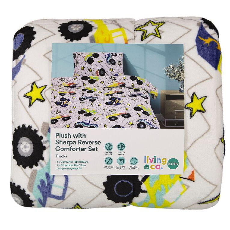 Living & Co Kids Comforter Set Plush Sherpa Reverse Trucks King Single, , hi-res