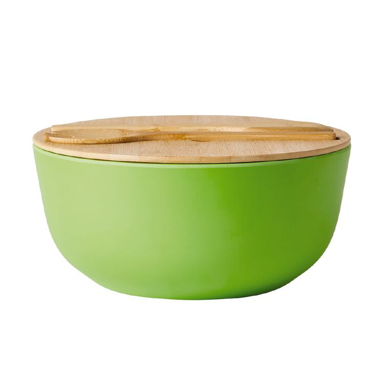 Living & Co Salad Bowl With Lid And Servers Lime, , hi-res