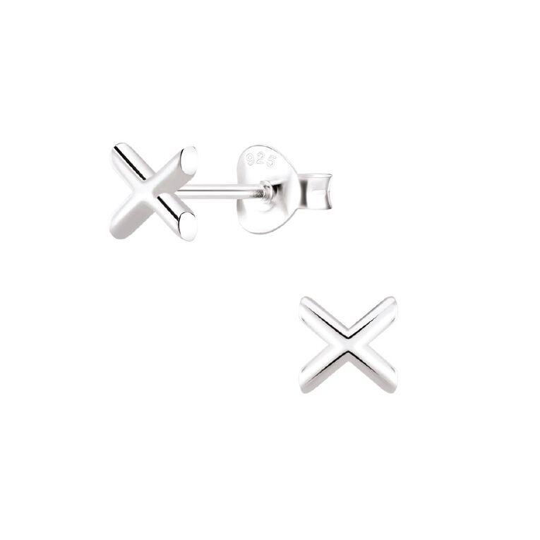 Sterling Silver X Stud Earrings, , hi-res