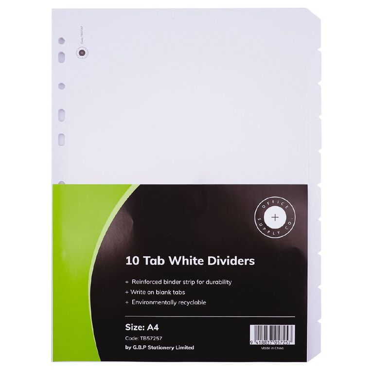 Office Supply Co 10 Tab White Manilla Dividers, , hi-res