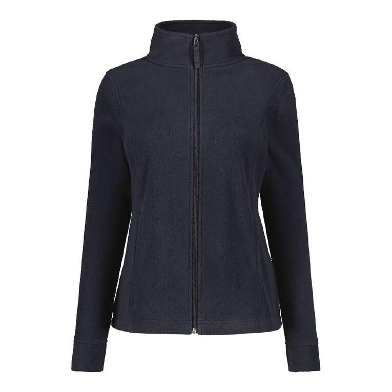 H&H Women's Microfleece Zip Thru Sweat, Blue Dark, hi-res