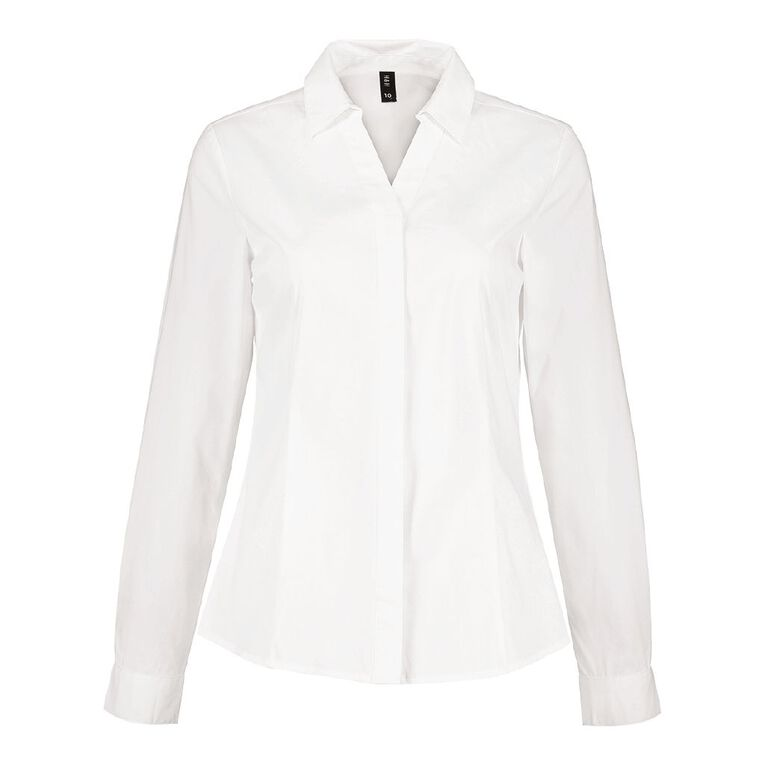 H&H Women's Stretch Work Shirt, White, hi-res