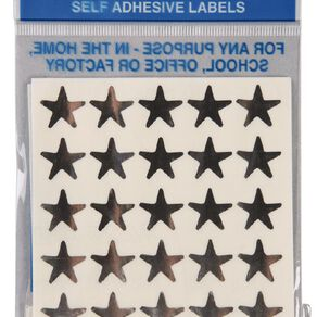 Quik Stik Labels Stars 150 Pack Silver