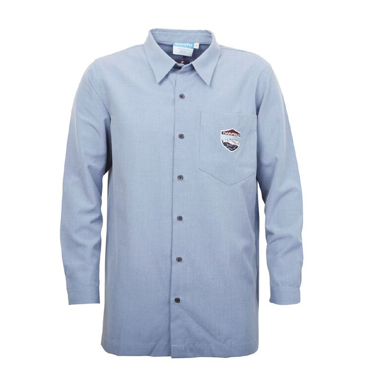 Schooltex Darfield High Boys' Long Sleeve Shirt with Embroidery, Chambray, hi-res