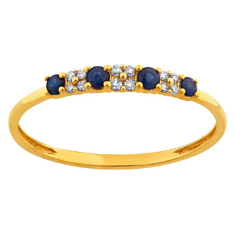 0.05 Carat Diamond 9ct Gold Natural Sapphire Crossover Band Ring, Yellow Gold, hi-res image number null